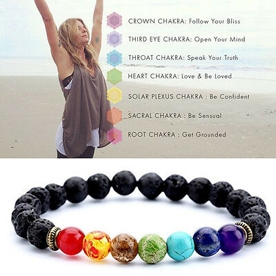 AU2.55 • Buy 7 Chakra Healing Beaded Bracelet Natural Lava Stone Diffuser Bracelet Jewelry-US
