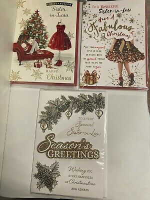 New Individual Sister-in-law Christmas Card Xmas Foil/glitter • 2.99£