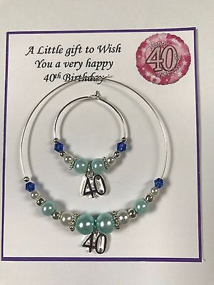 Wine, Champagne Bottle & Glass Charm 18 21 30 40 50 60  Birthday Gift Pale Blue • 5£