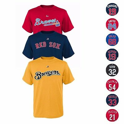 $3.99 • Buy MLB Majestic Player Name & Number Jersey T-Shirt Collection Youth Size (8-20)