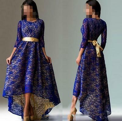 Vintage Women Lace High-Low Cocktail Prom Gown Long Tunic Dress 3/4 Sleeve New • 17.75£
