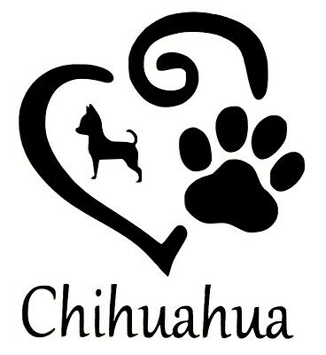 £2.36 • Buy Chihuahua Heart And Paw Vinyl Decal Sticker For Car Van Lorry Camper Boat Wall