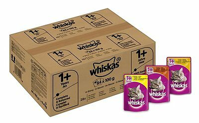 84 X Whiskas Wet Cat Food Pouches For 1+ Adult Mixed Selection In Gravy Free P&P • 24.88£