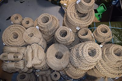 Natural Jute Rope Twisted Decking Cord Garden Boating Sash Camping 6mm - 60mm • 1.19£