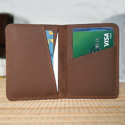 Unisex Bifold Trifold Real Leather Wallet Card Case ID Holder Multi Pocket BT