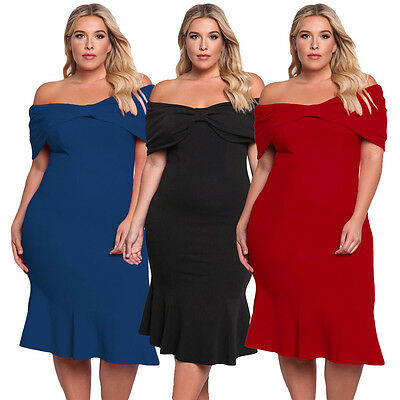 AU27.98 • Buy Pleats Bow Off Shoulder Plus Size Swing Midi Formal Casual Evening Party Dress