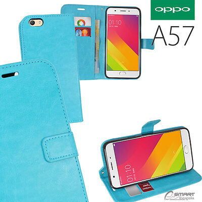 AU7.99 • Buy Aqua Wallet Flip Card Slot Stand Case Cover For Oppo Oppo A57