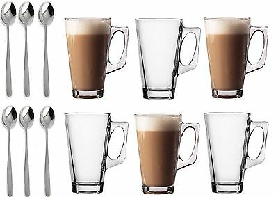 £7.75 • Buy 6 Latte Glasses Tea Cappuccino Glass Tassimo Costa Coffee Cups Mugs With Spoons