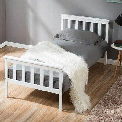 Single Bed Adult White Solid Wooden Frame For Adult Children • 59.99£