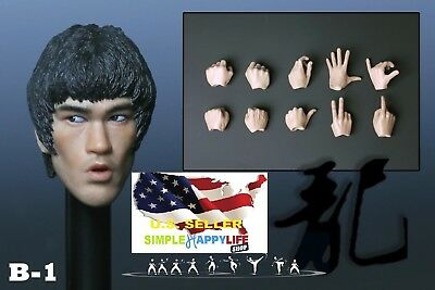 $51.44 • Buy 1/6 Bruce Lee Head Sculpt 8.0 Open Mouth W/ Hands For Hot Toys Phicen M32 ❶USA❶
