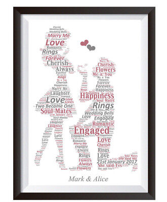 Personalised Word Art Engagement Wedding Couple Picture Print Present Gift  • 4.99£