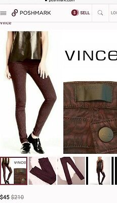 64aed206815b26 Vince NWT Leggings Pants Skinny Jeans Black Mulberry Women 27 Baroque Lace  • 28.00$