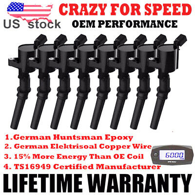 $32.59 • Buy For Ford 4.6L 5.4L 6.8L V8 V10 Set Of 8 Ignition Coil Pack DG508 Spark Plug