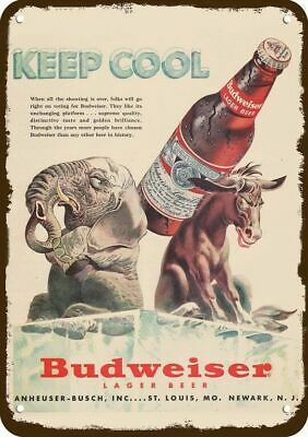 $ CDN30.37 • Buy 1952 BUDWEISER BEER Vintage Look DECORATIVE METAL SIGN - REPUBLICAN & DEMOCRAT