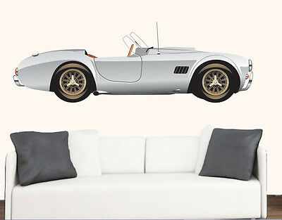 Vintage Silver Sports Car Wall Art Vinyl Sticker Classic Racing Decal Mural • 12.99£