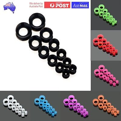 AU7.98 • Buy 1 Set Flexible Silicone Tunnels Stretchers Plugs Round Flesh Ear Open Soft Pair