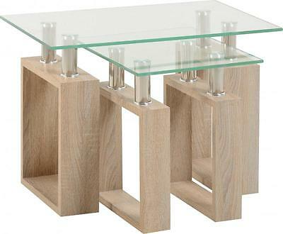 Milan Nest Of Tables In Oak Effect Veneer Glass Silver • 71.65£