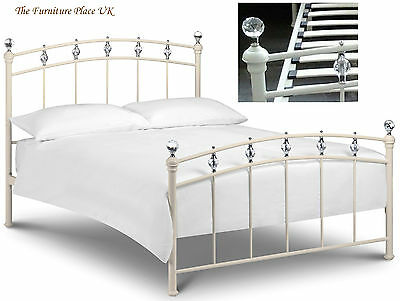 £229.99 • Buy Sophie Bed Frame 3ft Single 4ft Double In Stone White Cream With Crystal Finials