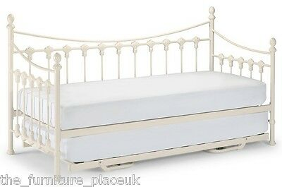 £274.99 • Buy VERSAILLES GENUINE Guest Bed Single Metal Day Bed Option Of Trundle Stone White.