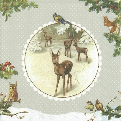 WINTERTIME Linen Wildlife Christmas Paper Lunch Napkins New 20 In Pack 33 Cm Sq • 4.89£