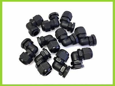 £4.29 • Buy IP68 WATERPROOF 90 Angle CABLE GLANDS BLACK NYLON PG9 PG11 PG13.5 ELBOW STYLE