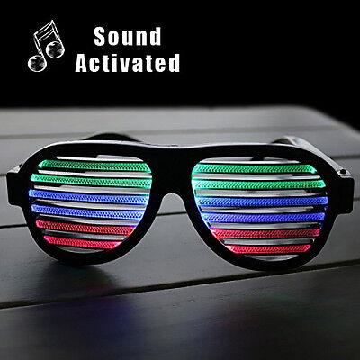 Sound & Music Activated Light Up Glasses Shutter Shades Party Disco LED • 10.95£