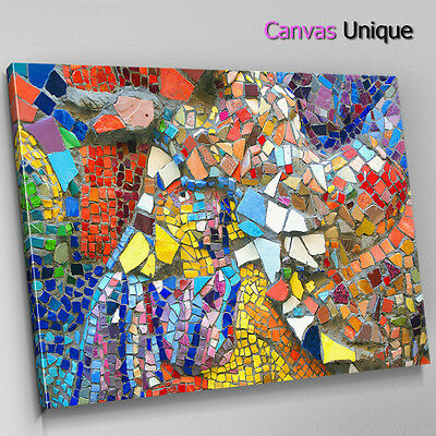 AB1279 Mosaic Orange Modern Abstract Wall Art Picture Large Canvas Print • 29.99£
