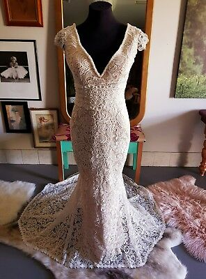 AU599 • Buy Crochet Lace Wedding Dress With Champage Lining Ivory Lace Custom Made To Size