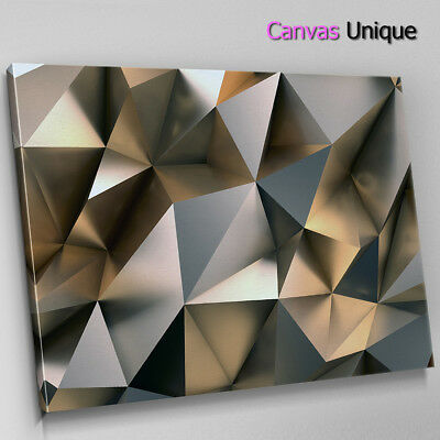 AB1722 Grey Metal Effect Geometric Abstract Wall Art Picture Large Canvas Print • 19.99£