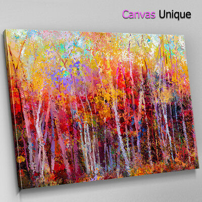 SC958 Impressionist Autumn Forest Scenic Wall Art Picture Large Canvas Print • 29.99£