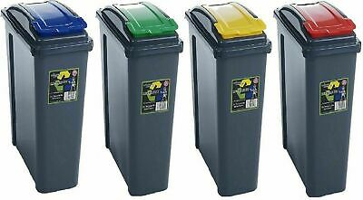 40l 40 Liter Slim Recycle Bin Recycling Sorting Bin Click Lock Lid Lift Top • 14.25£