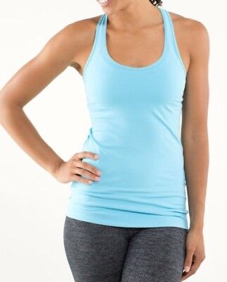$ CDN40 • Buy LULULEMON ATHLETICA Light Green COTTON Ruched & RACERBACK TANK Top Size 8 MEDIUM