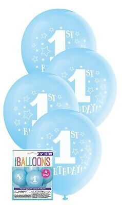 AU5.38 • Buy 8 X First 1st One Birthday Stars Party Blue Balloons Decoration 30cm Helium Boy