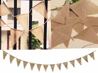 Hessian Fabric Bunting Vintage Wedding Baby Shower Shabby Chic Party Decoration • 3.99£