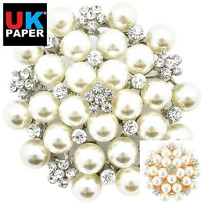 New Large Silver Diamante Pearl Brooch Pins Bouquet Job Lot Wedding Dress Bridal • 2.99£