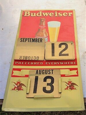$ CDN395.46 • Buy Vintage  Budweiser Beer Calendar Sign Complete/Old Brewery