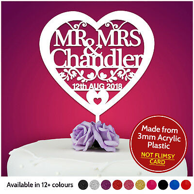 £7.99 • Buy Heart Personalised Wedding Cake Topper Table Decoration Mr Mrs Bride And Groom
