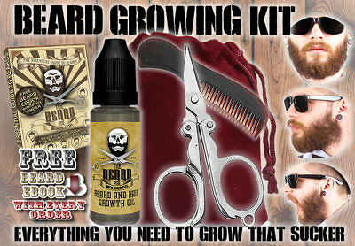 Beard Growing Set - Beard Growth Oil, Pocket Beard Comb, Mini Scissors And Bag • 7.98£