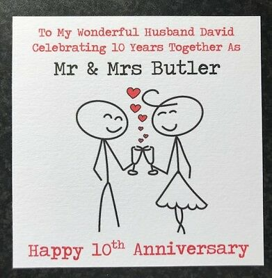 Personalised Wedding Anniversary Card -Husband/Wife- 1st 2nd 10th 15th 20th -ANY • 3.75£