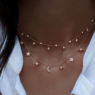 $1.32 • Buy Fashion Multilayer Choker Necklace Star Moon Chain Gold Women Summer Jewelry HS
