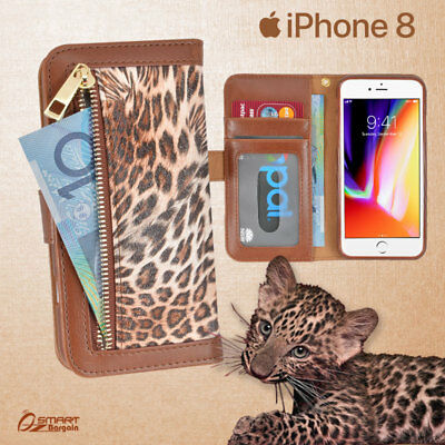 AU7.99 • Buy Leopard Zip Wallet Bag ID Card Flip Leather Case Cover For IPhone 8 / 8 Plus / 7