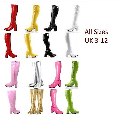 LADIES WOMENS KNEE HIGH FANCY PARTY GO GO BOOTS 60s 70s RETRO Size UK 3-12 • 21.99£