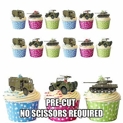 £3.49 • Buy PRE-CUT Military / Army Vehicles Jeep Tank - Edible Cupcake Toppers Decorations