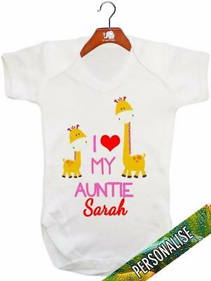 I Love My Auntie 'PERSONALISED' Baby Vest / Baby Grow / Baby Playsuit • 9.99£