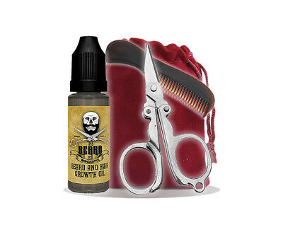 Beard Growing Kit - Beard Growin Oil, Pocket Beard Comb, Mini Scissors And Bag • 7.98£