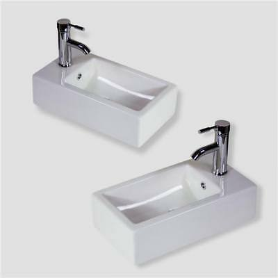 Bathroom Basin Sink Wall Hung Mounted Cloakroom Corner Ceramic Left Right Bowl • 49.99£