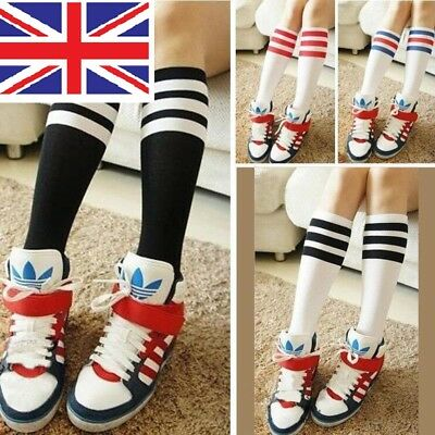 Girls Boys Football School Tennis Gym Sport Knee High Striped Socks  Uk  • 2.99£