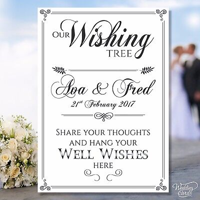£3.65 • Buy Our Wishing Tree Sign Card Vintage Wedding Well Wish Bride Groom Wishes Rustic