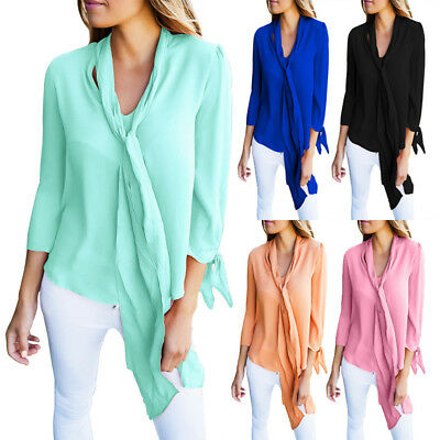 AU24.63 • Buy Women V Neck Loose Long Sleeve Business Office Casual Tops Tie Neck Blouse Shirt