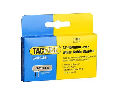 £5.69 • Buy TACWISE CT45 8mm WHITE CABLE TACKER STAPLES, 1000 PER BOX, FITS CABLE TACKERS